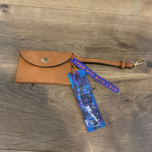 NEW Violet Ray Keychain Card Pouch Camel